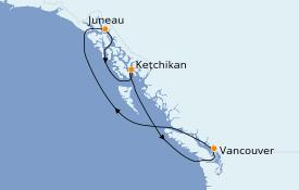 Itinéraire de la croisière Alaska 6 jours à bord du Star Princess