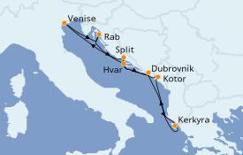 Itinéraire de la croisière Grèce & Adriatique 8 jours à bord du Silver Shadow