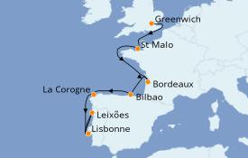 Itinéraire de la croisière Méditerranée 10 jours à bord du Silver Whisper
