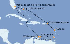 Itinéraire de la croisière Caraïbes de l'Est 11 jours à bord du Enchanted Princess