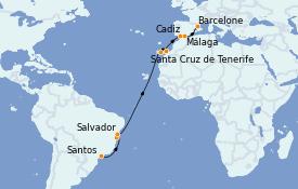 Itinéraire de la croisière Transatlantiques et Grands Voyages 2023 20 jours à bord du Costa Toscana