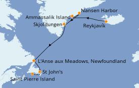 Itinéraire de la croisière Exploration polaire 11 jours à bord du Le Champlain