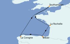 Itinéraire de la croisière Méditerranée 8 jours à bord du Sky Princess