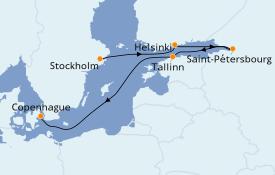Itinéraire de la croisière Mer Baltique 8 jours à bord du Silver Spirit