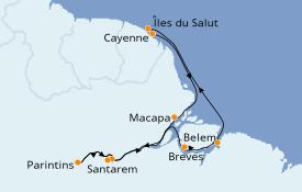Itinéraire de la croisière Amérique du Sud 13 jours à bord du