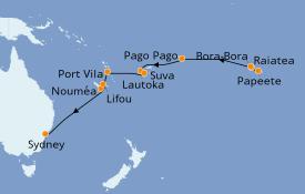Itinéraire de la croisière Australie 2019 18 jours à bord du Norwegian Jewel