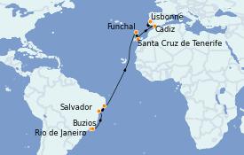 Itinéraire de la croisière Amérique du Sud 16 jours à bord du MSC Preziosa