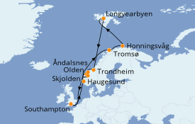 Itinéraire de la croisière Fjords & Norvège 17 jours à bord du Island Princess