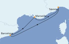 Itinéraire de la croisière Méditerranée 5 jours à bord du Costa Magica