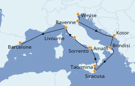 Itinéraire de la croisière Méditerranée 14 jours à bord du Azamara Journey