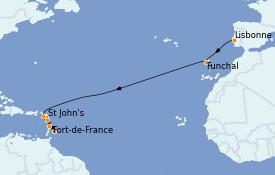 Itinéraire de la croisière Caraïbes de l'Est 15 jours à bord du Seabourn Ovation