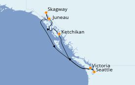 Itinéraire de la croisière Alaska 8 jours à bord du Majestic Princess