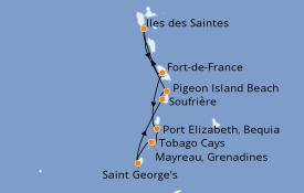 Itinéraire de la croisière Caraïbes de l'Est 8 jours à bord du Le Champlain