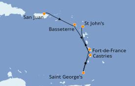 Itinéraire de la croisière Caraïbes de l'Est 6 jours à bord du Silver Shadow