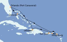 Itinéraire de la croisière Caraïbes de l'Est 9 jours à bord du Harmony of the Seas
