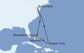 Itinéraire de la croisière Bahamas 9 jours à bord du Carnival Legend