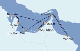 Itinéraire de la croisière Dubaï - Emirats 10 jours à bord du Jewel of the Seas