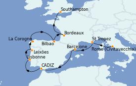 Itinéraire de la croisière Méditerranée 13 jours à bord du MS Marina