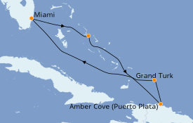 Itinéraire de la croisière Caraïbes de l'Est 7 jours à bord du Carnival Freedom