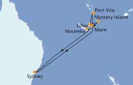 Itinéraire de la croisière Australie 2020 11 jours à bord du Radiance of the Seas