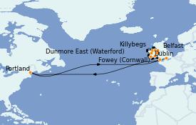 Itinéraire de la croisière Îles Britanniques 11 jours à bord du Silver Shadow