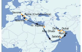 Itinéraire de la croisière Dubaï - Emirats 21 jours à bord du Costa Pacifica