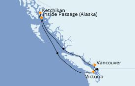 Itinéraire de la croisière Alaska 6 jours à bord du Celebrity Millennium