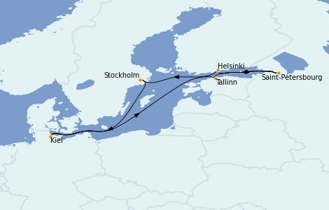 Itinéraire de la croisière Mer Baltique 7 jours à bord du MSC Preziosa