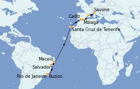 Itinéraire de la croisière Transatlantiques et Grands Voyages 2022 18 jours à bord du Costa Favolosa