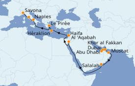 Itinéraire de la croisière Transatlantiques et Grands Voyages 2021 24 jours à bord du Costa Diadema