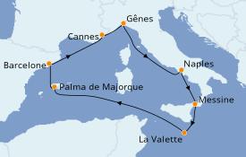 Itinéraire de la croisière Méditerranée 9 jours à bord du MSC Grandiosa