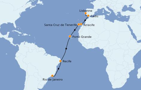 Itinéraire de la croisière Méditerranée 14 jours à bord du Norwegian Star