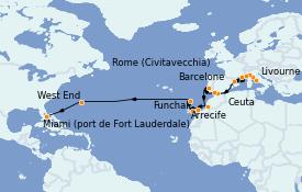 Itinéraire de la croisière Tour du Monde 2022 24 jours à bord du Island Princess
