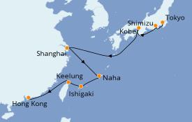 Itinéraire de la croisière Asie 12 jours à bord du Norwegian Sun