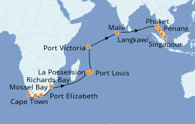 Itinéraire de la croisière Afrique 25 jours à bord du Norwegian Spirit