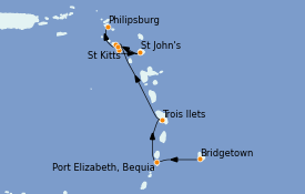 Itinéraire de la croisière Caraïbes de l'Est 8 jours à bord du Seabourn Ovation
