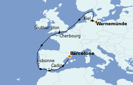 Itinerario de crucero Mediterráneo 13 días a bordo del MSC Seaview