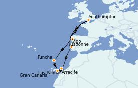 Itinéraire de la croisière Méditerranée 13 jours à bord du Queen Victoria
