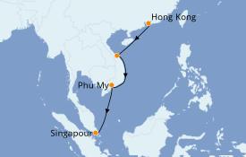 Itinéraire de la croisière Asie 8 jours à bord du Queen Mary 2
