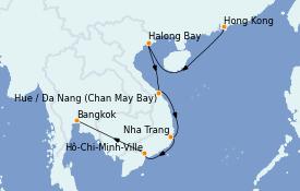 Itinéraire de la croisière Asie 13 jours à bord du MS Insignia
