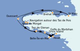 Itinéraire de la croisière Atlantique 8 jours à bord du Le Bellot
