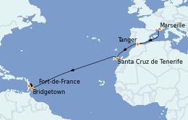 Itinéraire de la croisière Transatlantiques et Grands Voyages 2021 13 jours à bord du Costa Diadema