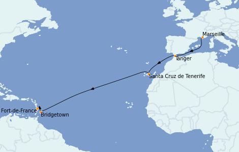 Itinéraire de la croisière Transatlantiques et Grands Voyages 2021 12 jours à bord du Costa Diadema