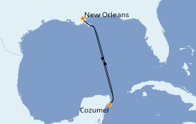 Itinéraire de la croisière Caraïbes de l'Ouest 5 jours à bord du Carnival Valor