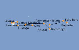 Itinéraire de la croisière Polynésie 13 jours à bord du Silver Explorer