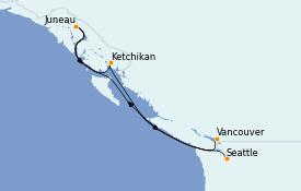 Itinéraire de la croisière Alaska 6 jours à bord du Crown Princess
