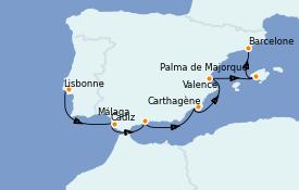 Itinéraire de la croisière Méditerranée 8 jours à bord du Silver Dawn