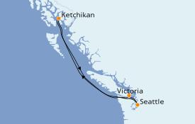 Itinéraire de la croisière Alaska 6 jours à bord du Norwegian Sun