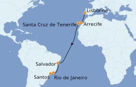 Itinéraire de la croisière Transatlantiques et Grands Voyages 2020 14 jours à bord du MSC Grandiosa
