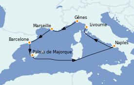 Itinéraire de la croisière Méditerranée 7 jours à bord du MSC Seaside